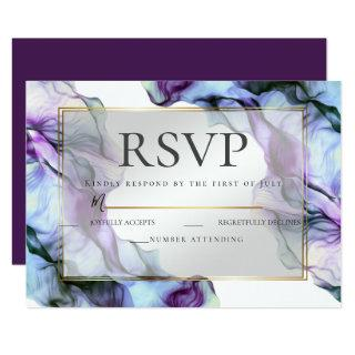 RSVP   Abstract Watercolor Deep Purple Invitations