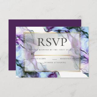 RSVP | Abstract Watercolor Deep Purple Invitations