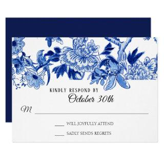 RSVP Asian Influence Navy Blue Floral Chinoiserie Invitations