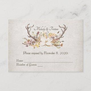 RSVP-autumn bouquet with deer antlers RSVP Card