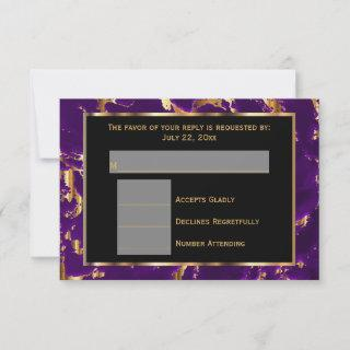 RSVP Black, Gold and Purple Marble