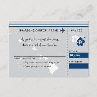 RSVP Boarding Pass TO HAWAII Gray and Blue