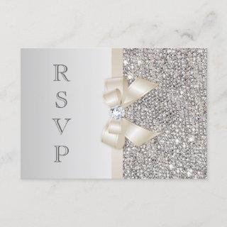 RSVP Faux Silver Sequins Light Champagne Bow