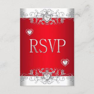 RSVP red Silver White Diamond Hearts