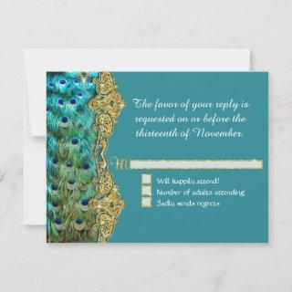 RSVP Response Art Deco Peacock Glam Old Hollywood
