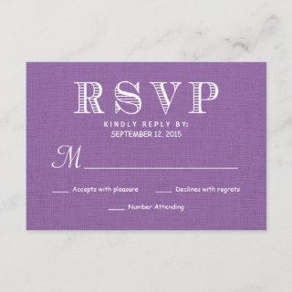 RSVP Rustic Burlap Orchid Wedding Reply