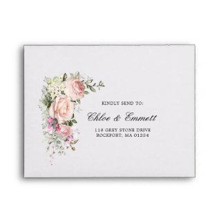 RSVP - Rustic Pink Rose Floral Address Envelope