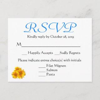RSVP Sunflower Blue & Yellow Floral Wedding Invitations Postcard