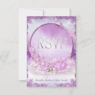 RSVP Wedding Pink Lilac Rings Butterfly