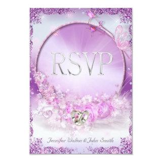 RSVP Wedding Pink Lilac Rings Butterfly Invitations