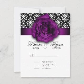 RSVP Wedding Reply Card Purple Rose Damask