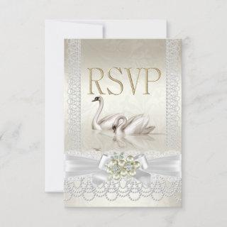 RSVP Wedding Swans White Pearl Lace Damask