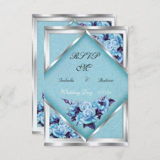 RSVP Wedding Teal Purple Roses Silver Bouquet Invitations