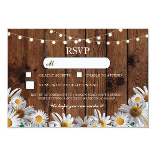 RSVP Wood Wedding Rustic Daisy Floral Cards