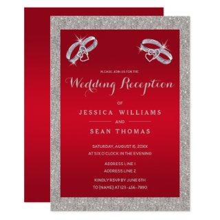 Ruby Red, Sparkly Silver Rings Wedding Reception Invitation