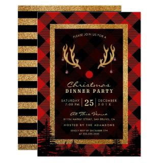 Rudolph's Antlers American Christmas Dinner Party Invitation