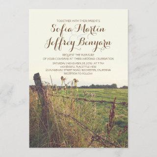 rural fence country rustic wedding Invitations