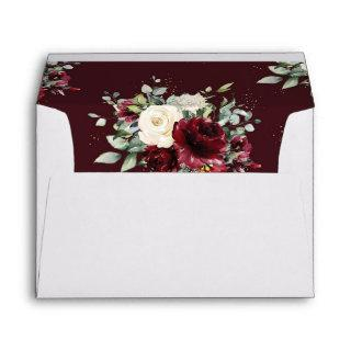 Rusic Burgundy Ivory White Floral Wedding Envelope