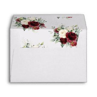 Rusic Chic Burgundy Ivory White Floral Wedding Envelope