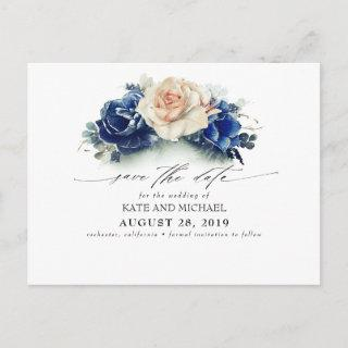 Rust and Navy Blue Floral Boho Save the Date Postcard
