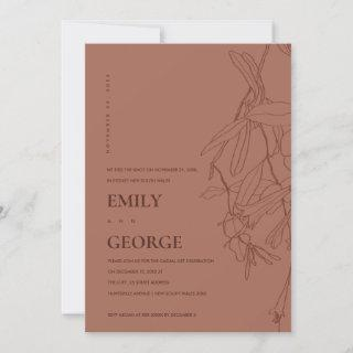 RUST LINE DRAWING FLORAL WE TIED THE KNOT INVITE