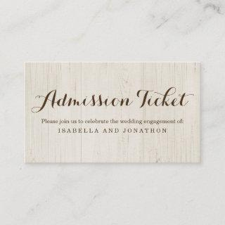 Rustic Admission Ticket Enclosure Card