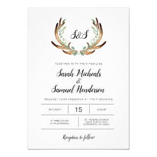 Rustic Antler & Greenery Watercolor Wedding Invitation