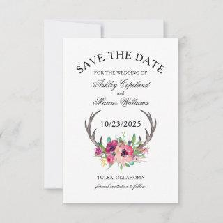 Rustic Antlers Boho Floral Photo Save the Date