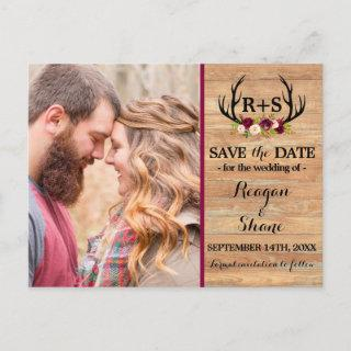 Rustic Antlers Floral Burgundy Wood Save The Date Announcement Postcard