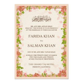 Rustic Apricot Floral Frame Islamic Muslim Wedding Invitation