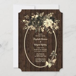 Rustic Autumn Dried Floral Spray Wedding Invitation