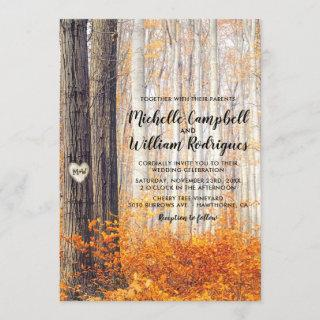 Rustic Autumn Fall Leaves Wedding Invitations