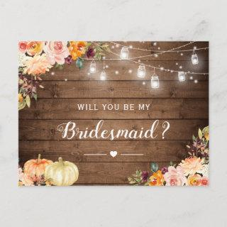 Rustic Autumn Floral Be My Bridesmaid Proposal Invitations Postcard