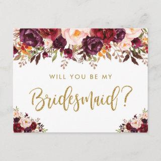 Rustic Autumn Floral Will You Be My Bridesmaid Invitation