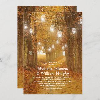 Rustic Autumn Leaves Mason Jar Lights Wedding Invitations