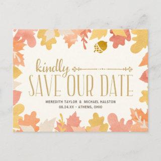 Rustic Autumn Leaves Save the Date Announcement Postcard