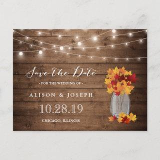 Rustic Autumn Leaves String Lights Save the Date Announcement Postcard