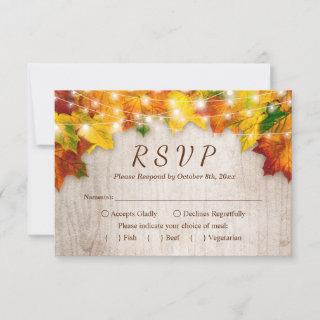 Rustic Autumn Leaves String Lights Wedding RSVP