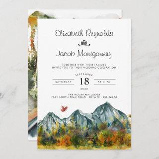 Rustic Autumn Mountain Wedding Invitations