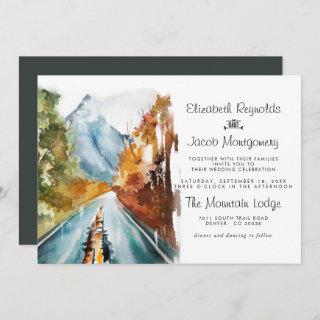 Rustic Autumn Mountain Wedding Invitation