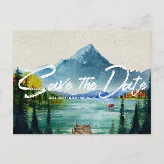 Rustic Autumn Mountain Wedding   Save the Date Announcement Postcard