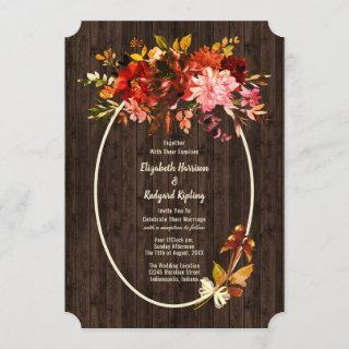 Rustic Autumn Splendor Dried Floral Wedding Invitations