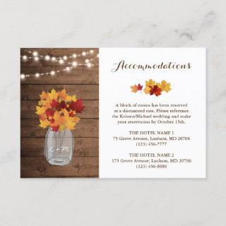 Rustic Autumn String Lights Wedding Accommodations Enclosure Card