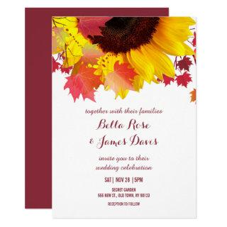 Rustic Autumn Sunflower Fall Wedding Invitations