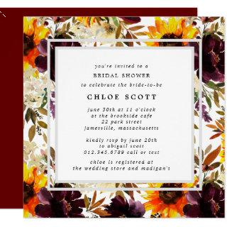 Rustic Autumn Sunflower Floral Bridal Shower Invitations
