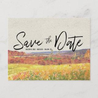 Rustic Autumn Wedding | Save the Date Postcard