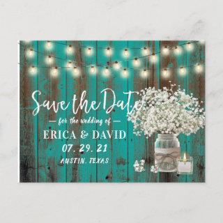 Rustic Baby's Breath Jar Teal Wood Save the Date Announcement Postcard