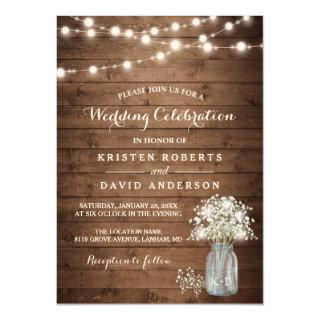 Rustic Baby's Breath Mason Jar Lights Wedding Invitations