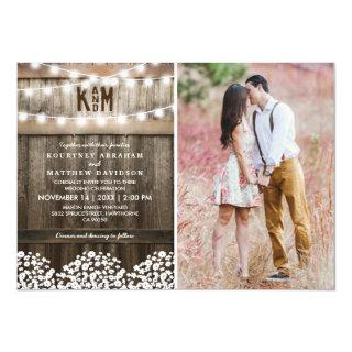 Rustic Baby's Breath String Lights Photo Wedding Invitations