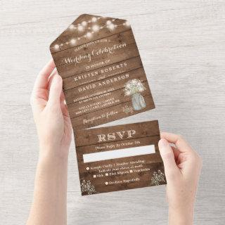 Rustic Baby's Breath String Lights Wedding All In One Invitations